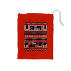 Old School Ugly Holiday Christmas Red Background Drawstring Pouches (medium)