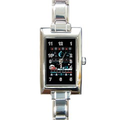 That Snow Moon Star Wars  Ugly Holiday Christmas Black Background Rectangle Italian Charm Watch
