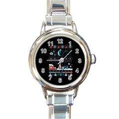 That Snow Moon Star Wars  Ugly Holiday Christmas Black Background Round Italian Charm Watch