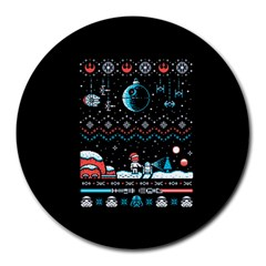 That Snow Moon Star Wars  Ugly Holiday Christmas Black Background Round Mousepads