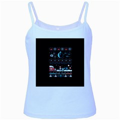 That Snow Moon Star Wars  Ugly Holiday Christmas Black Background Baby Blue Spaghetti Tank