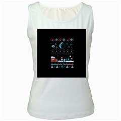 That Snow Moon Star Wars  Ugly Holiday Christmas Black Background Women s White Tank Top