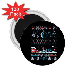That Snow Moon Star Wars  Ugly Holiday Christmas Black Background 2.25  Magnets (100 pack)