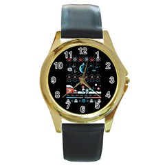 That Snow Moon Star Wars  Ugly Holiday Christmas Black Background Round Gold Metal Watch