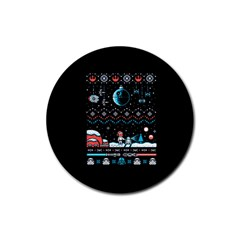 That Snow Moon Star Wars  Ugly Holiday Christmas Black Background Rubber Round Coaster (4 pack)