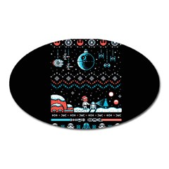 That Snow Moon Star Wars  Ugly Holiday Christmas Black Background Oval Magnet