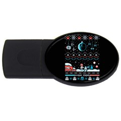 That Snow Moon Star Wars  Ugly Holiday Christmas Black Background USB Flash Drive Oval (4 GB)