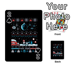 That Snow Moon Star Wars  Ugly Holiday Christmas Black Background Playing Cards 54 Designs