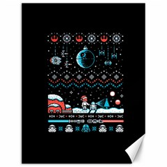 That Snow Moon Star Wars  Ugly Holiday Christmas Black Background Canvas 12  x 16