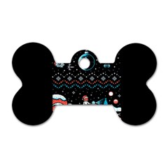 That Snow Moon Star Wars  Ugly Holiday Christmas Black Background Dog Tag Bone (One Side)
