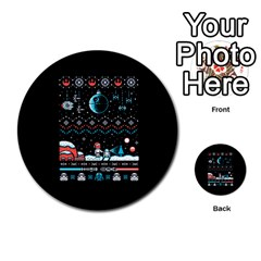 That Snow Moon Star Wars  Ugly Holiday Christmas Black Background Multi Purpose Cards (round)