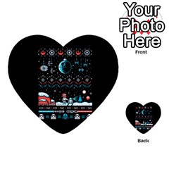 That Snow Moon Star Wars  Ugly Holiday Christmas Black Background Multi-purpose Cards (Heart)