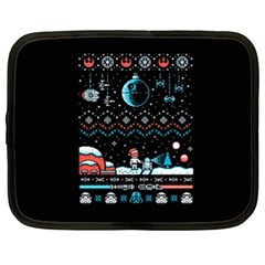 That Snow Moon Star Wars  Ugly Holiday Christmas Black Background Netbook Case (XL)