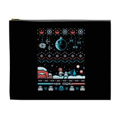 That Snow Moon Star Wars  Ugly Holiday Christmas Black Background Cosmetic Bag (xl)