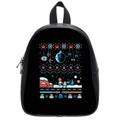 That Snow Moon Star Wars  Ugly Holiday Christmas Black Background School Bags (small)