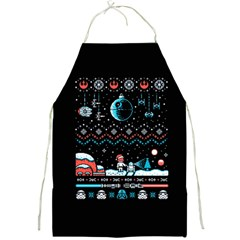 That Snow Moon Star Wars  Ugly Holiday Christmas Black Background Full Print Aprons