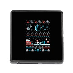 That Snow Moon Star Wars  Ugly Holiday Christmas Black Background Memory Card Reader (square)