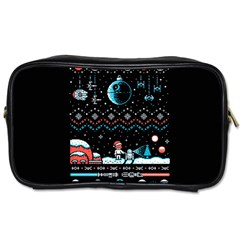 That Snow Moon Star Wars  Ugly Holiday Christmas Black Background Toiletries Bags 2-Side