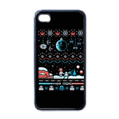 That Snow Moon Star Wars  Ugly Holiday Christmas Black Background Apple iPhone 4 Case (Black)