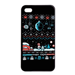 That Snow Moon Star Wars  Ugly Holiday Christmas Black Background Apple iPhone 4/4s Seamless Case (Black)