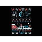 That Snow Moon Star Wars  Ugly Holiday Christmas Black Background YOU ARE INVITED 3D Greeting Card (7x5) Back
