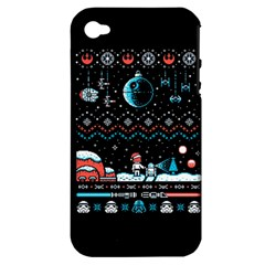 That Snow Moon Star Wars  Ugly Holiday Christmas Black Background Apple Iphone 4/4s Hardshell Case (pc+silicone)