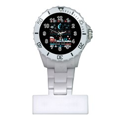 That Snow Moon Star Wars  Ugly Holiday Christmas Black Background Plastic Nurses Watch