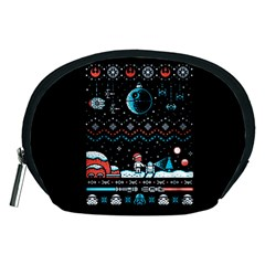 That Snow Moon Star Wars  Ugly Holiday Christmas Black Background Accessory Pouches (medium)
