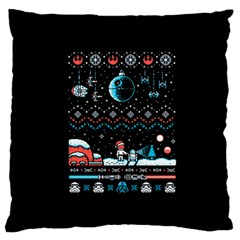 That Snow Moon Star Wars  Ugly Holiday Christmas Black Background Large Flano Cushion Case (one Side)