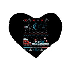 That Snow Moon Star Wars  Ugly Holiday Christmas Black Background Standard 16  Premium Flano Heart Shape Cushions