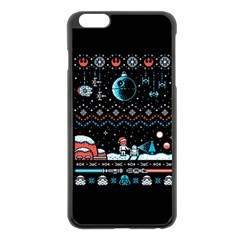 That Snow Moon Star Wars  Ugly Holiday Christmas Black Background Apple Iphone 6 Plus/6s Plus Black Enamel Case