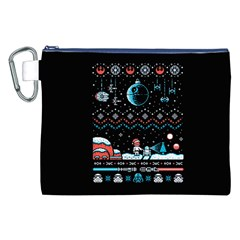 That Snow Moon Star Wars  Ugly Holiday Christmas Black Background Canvas Cosmetic Bag (XXL)