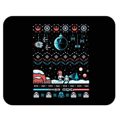 That Snow Moon Star Wars  Ugly Holiday Christmas Black Background Double Sided Flano Blanket (Medium)