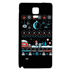 That Snow Moon Star Wars  Ugly Holiday Christmas Black Background Galaxy Note 4 Back Case