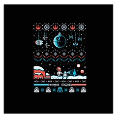 That Snow Moon Star Wars  Ugly Holiday Christmas Black Background Large Satin Scarf (Square)