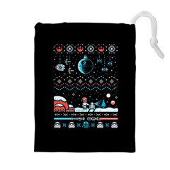 That Snow Moon Star Wars  Ugly Holiday Christmas Black Background Drawstring Pouches (Extra Large)
