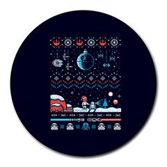 That Snow Moon Star Wars  Ugly Holiday Christmas Blue Background Round Mousepads