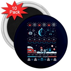 That Snow Moon Star Wars  Ugly Holiday Christmas Blue Background 3  Magnets (10 Pack)