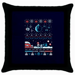 That Snow Moon Star Wars  Ugly Holiday Christmas Blue Background Throw Pillow Case (black)