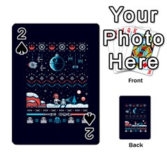 That Snow Moon Star Wars  Ugly Holiday Christmas Blue Background Playing Cards 54 Designs