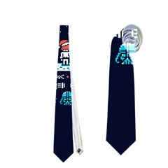 That Snow Moon Star Wars  Ugly Holiday Christmas Blue Background Neckties (one Side)