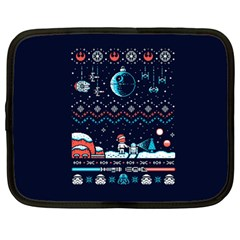 That Snow Moon Star Wars  Ugly Holiday Christmas Blue Background Netbook Case (large)