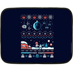 That Snow Moon Star Wars  Ugly Holiday Christmas Blue Background Double Sided Fleece Blanket (mini)