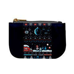 That Snow Moon Star Wars  Ugly Holiday Christmas Blue Background Mini Coin Purses