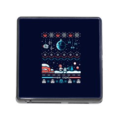 That Snow Moon Star Wars  Ugly Holiday Christmas Blue Background Memory Card Reader (square)