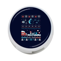 That Snow Moon Star Wars  Ugly Holiday Christmas Blue Background 4 Port Usb Hub (two Sides)