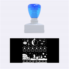 That Snow Moon Star Wars  Ugly Holiday Christmas Blue Background Rubber Stamps (Medium)