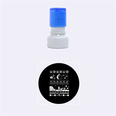 That Snow Moon Star Wars  Ugly Holiday Christmas Blue Background Rubber Round Stamps (small)