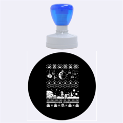 That Snow Moon Star Wars  Ugly Holiday Christmas Blue Background Rubber Round Stamps (large)