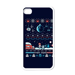 That Snow Moon Star Wars  Ugly Holiday Christmas Blue Background Apple Iphone 4 Case (white)